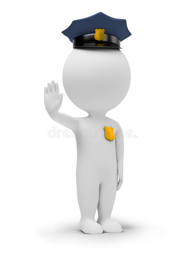 3d small people - policeman royalty free illustration