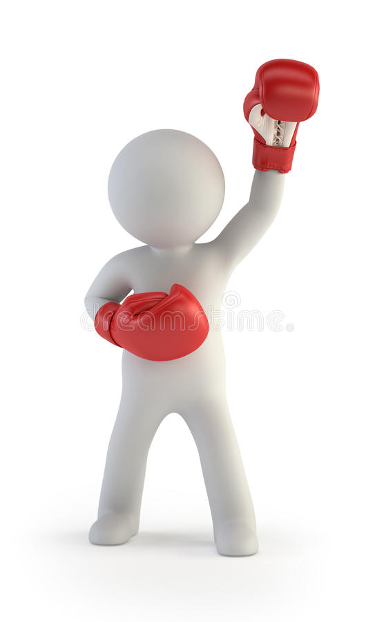 3d small people - red boxing gloves royalty free illustration
