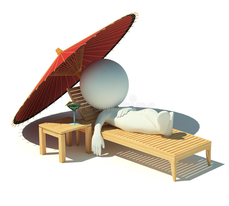Free 3d Small People - Rest On A Chaise Lounge Stock Photo - 14119820