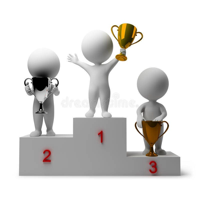 3d small people - rewarding of winners stock illustration