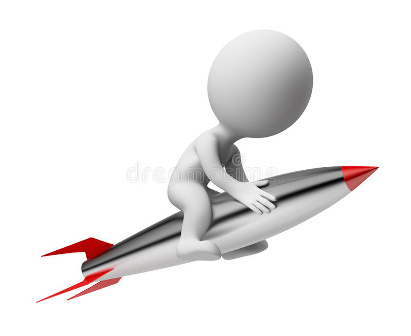 3d small people - rocket stock illustration
