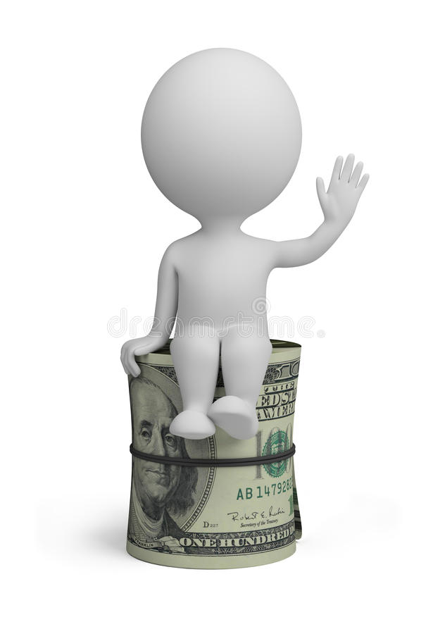 3d small people - roll dollars stock illustration