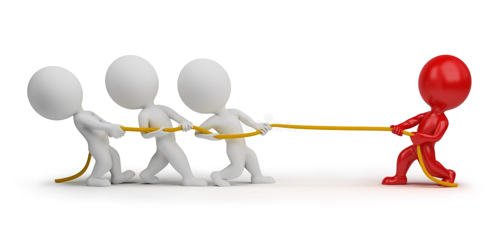 Download 3d Small People - Rope Pulling Stock Illustration - Image: 16949567