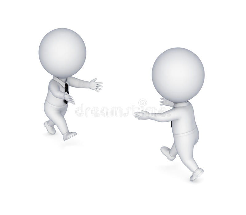 3d small people running to each other. vector illustration