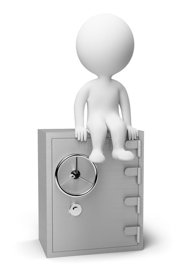 3d small people - safe. 3d small people sitting on the safe. 3d image. Isolated white background