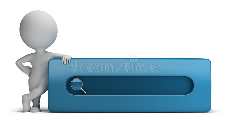 3d small people - search bar stock illustration