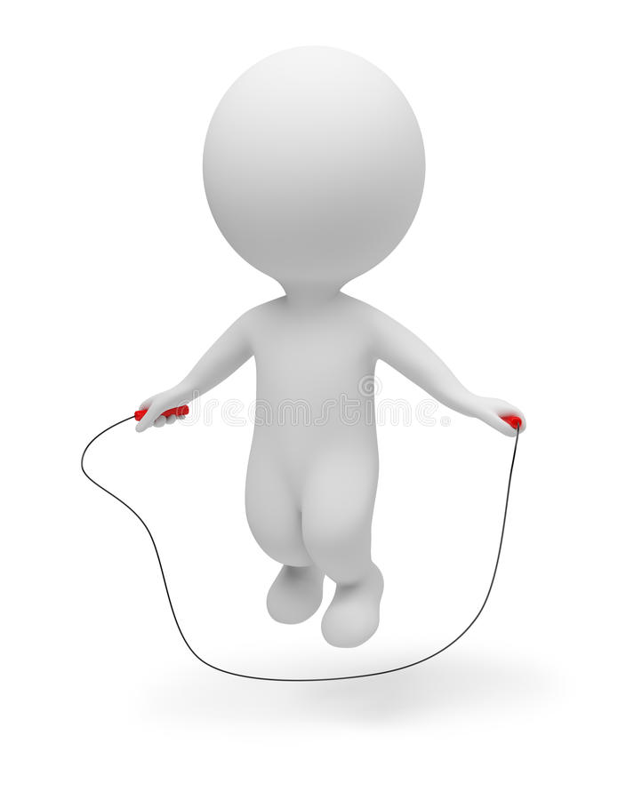 3d small people - skipping rope vector illustration