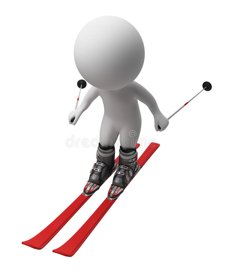 3d small people - skis royalty free illustration