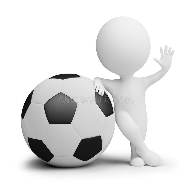 3d small people - soccer player with the big ball royalty free illustration