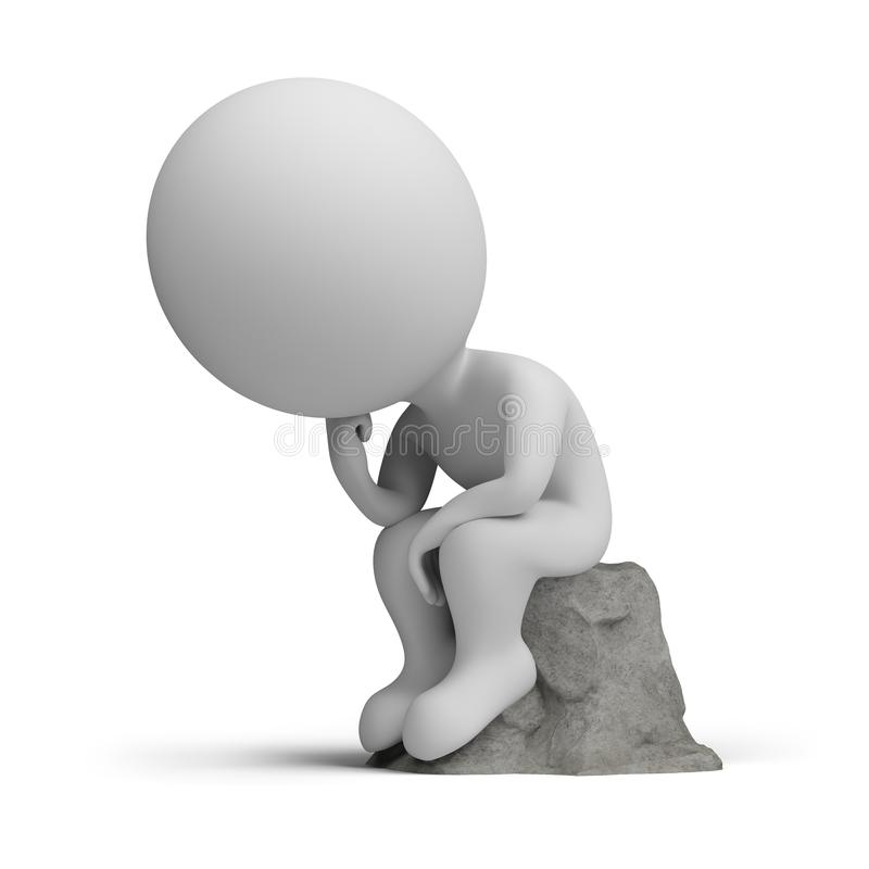 Free 3d Small People - Thinker Stock Images - 113382024