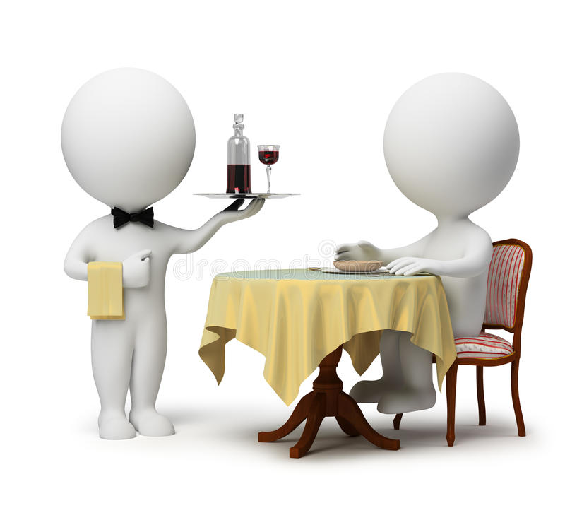Free 3d Small People - Waiter And Client Stock Photography - 14278112