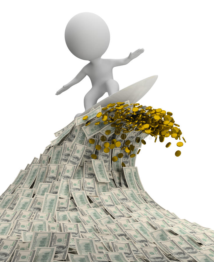 3d small people - wave of money vector illustration