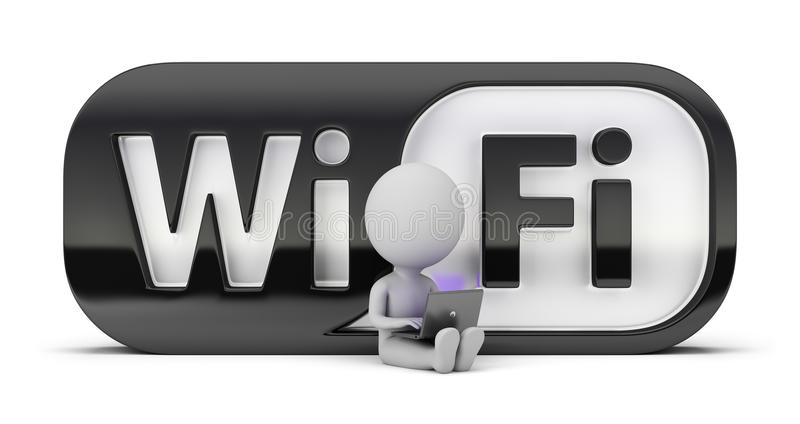3d small people - wifi stock illustration