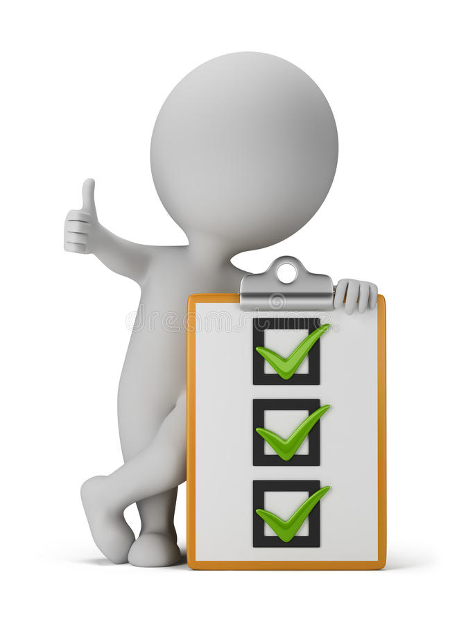 Free 3d Small People With A Checklist Royalty Free Stock Photo - 32740005