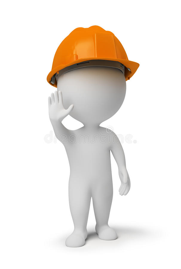 3d small people - worker at a stop pose royalty free illustration
