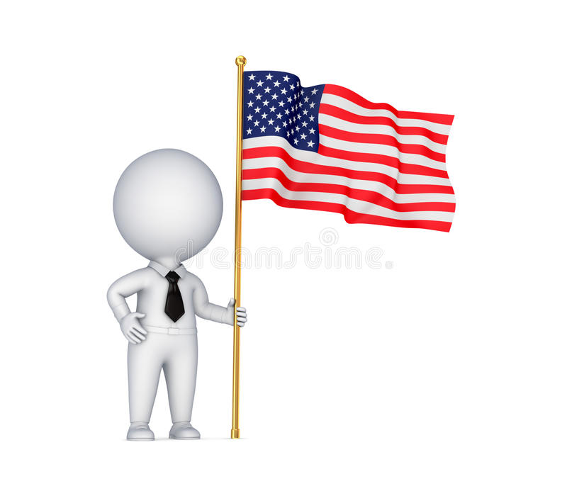 3d small person with an Italian flag in a hand. stock illustration
