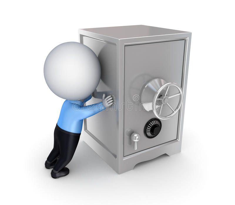 3d small person pushing an iron safe. royalty free illustration