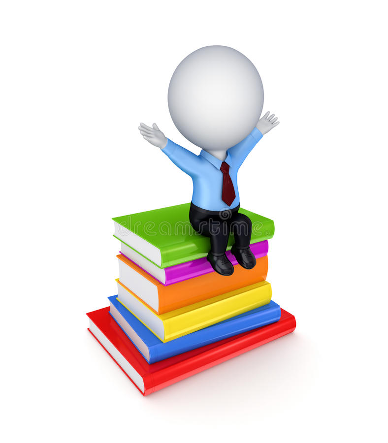 Free 3d Small Person Sitting On A Stack Of Books. Stock Photography - 23277582