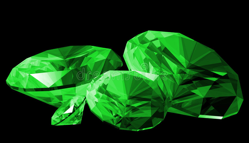 3d Smaragdgroene Geïsoleerdee Gem royalty-vrije illustratie