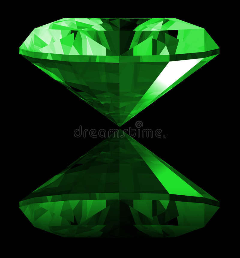 3d Smaragdgroene Geïsoleerdeh Gem stock illustratie