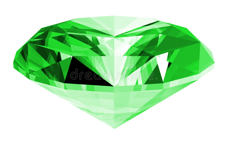 3d Smaragdgroene Geïsoleerdek Gem royalty-vrije illustratie