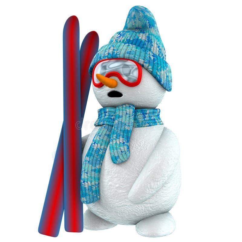 3d sneeuwmanskiër stock illustratie