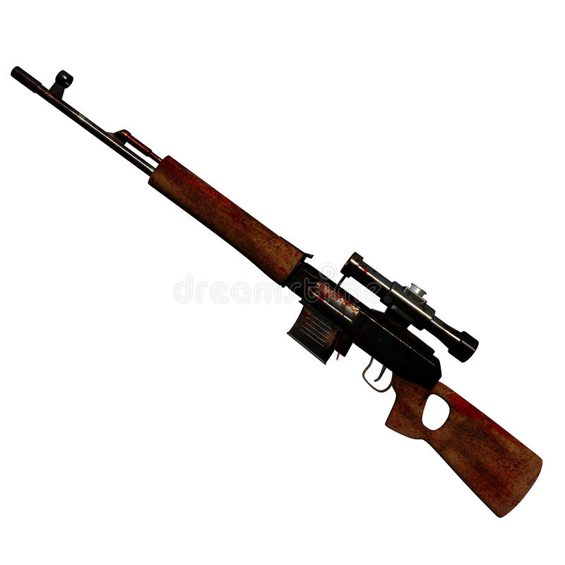 Download 3D sniper rifle stock illustration. Image of blood, military - 14331996