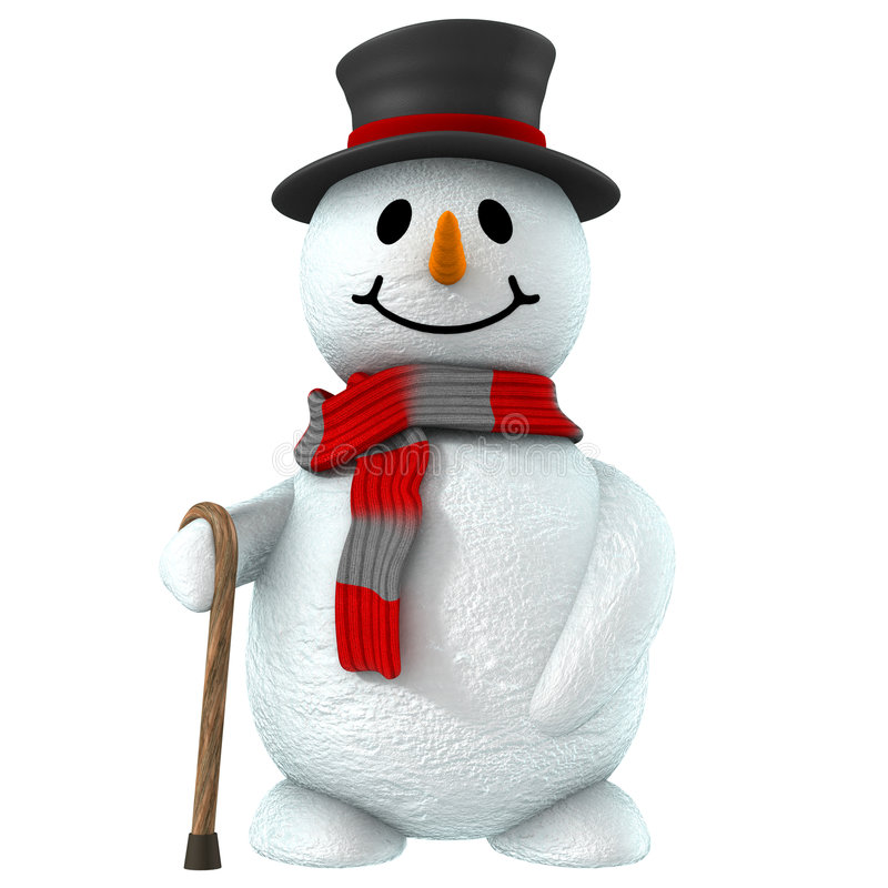 3d snow man stock illustration