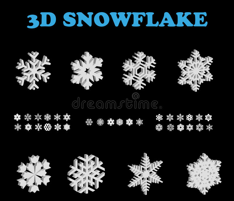 Download 3D Snowflake set stock vector. Image of color, abstract - 22099082