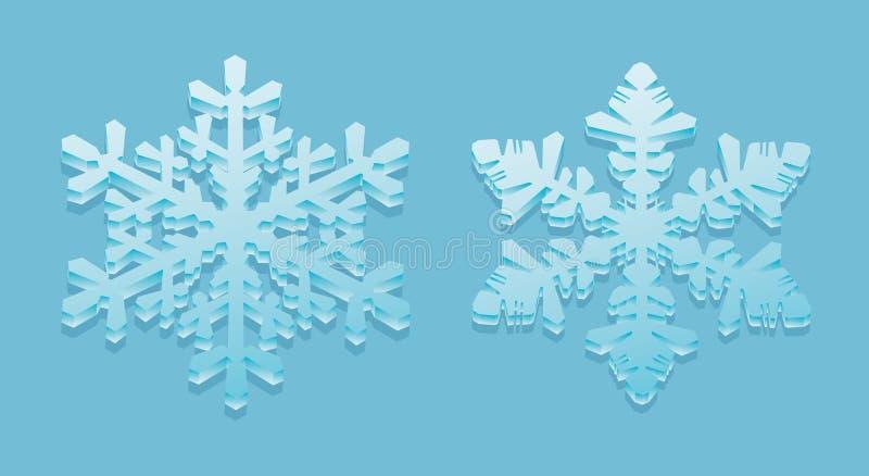 3D-snowflakes stock de ilustración