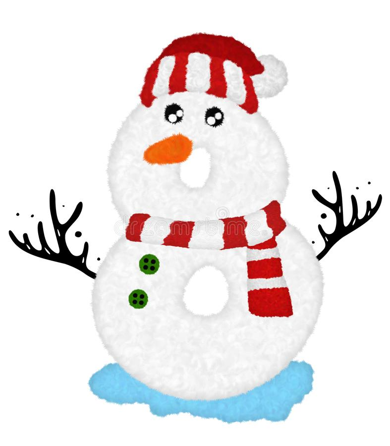 """Free 3D """"Snowman Cartoon Character Number 8"""" Design With Fur Feather Creative Decorative With Red Christmas Hat. Royalty Free Stock Image - 166460826"""