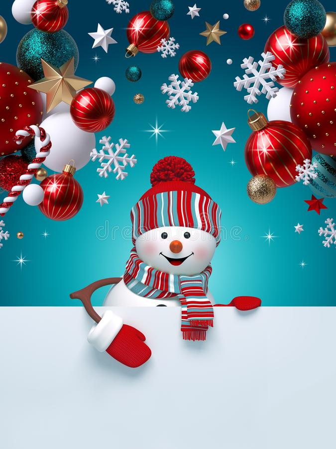 Free 3d Snowman, Christmas Ornaments, Balls, Snowflakes, Stars, Isolated On Blue Background. Blank Banner With Copy Space, Greeting Royalty Free Stock Photos - 164915698