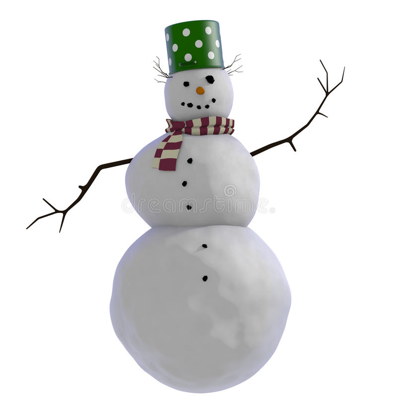 3D Snowman with green doted pot for hat, twigs for hair and purple and white striped scard red scarf. Simple illustration of a smiling snowman. The snowman has royalty free illustration