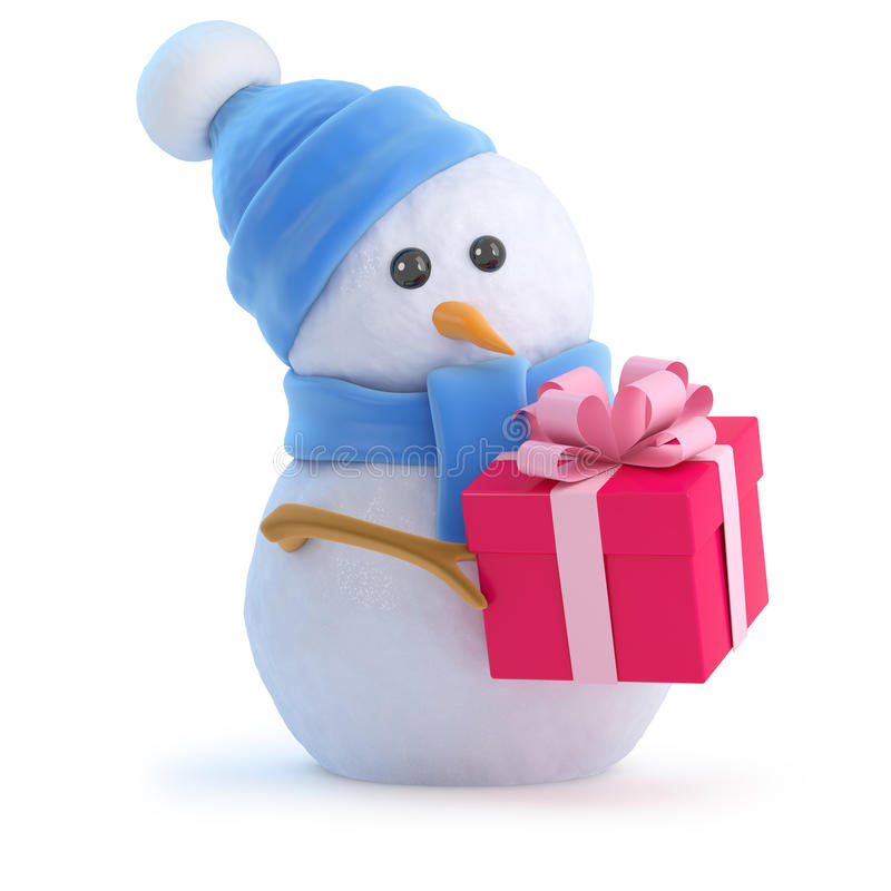 Free 3d Snowman Has A Christmas Gift Royalty Free Stock Photography - 42177027