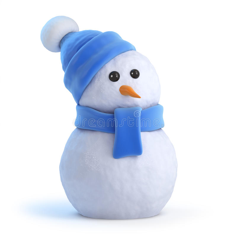 Free 3d Snowman In A Blue Wooden Ensemble Royalty Free Stock Photos - 44672588