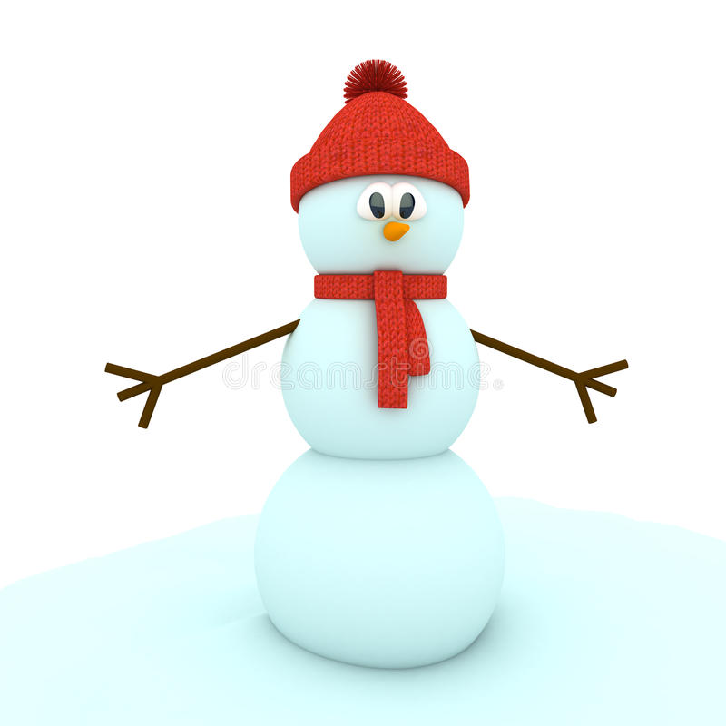 Free 3d Snowman Over White Background Royalty Free Stock Photography - 22410067