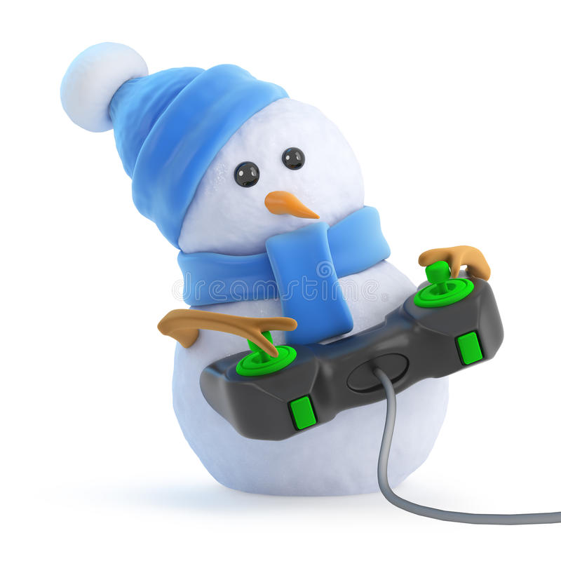 Free 3d Snowman Plays A Video Game Royalty Free Stock Photo - 42177185