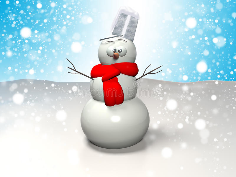 3D snowman wearing scarf on snowflakes backgroun stock images