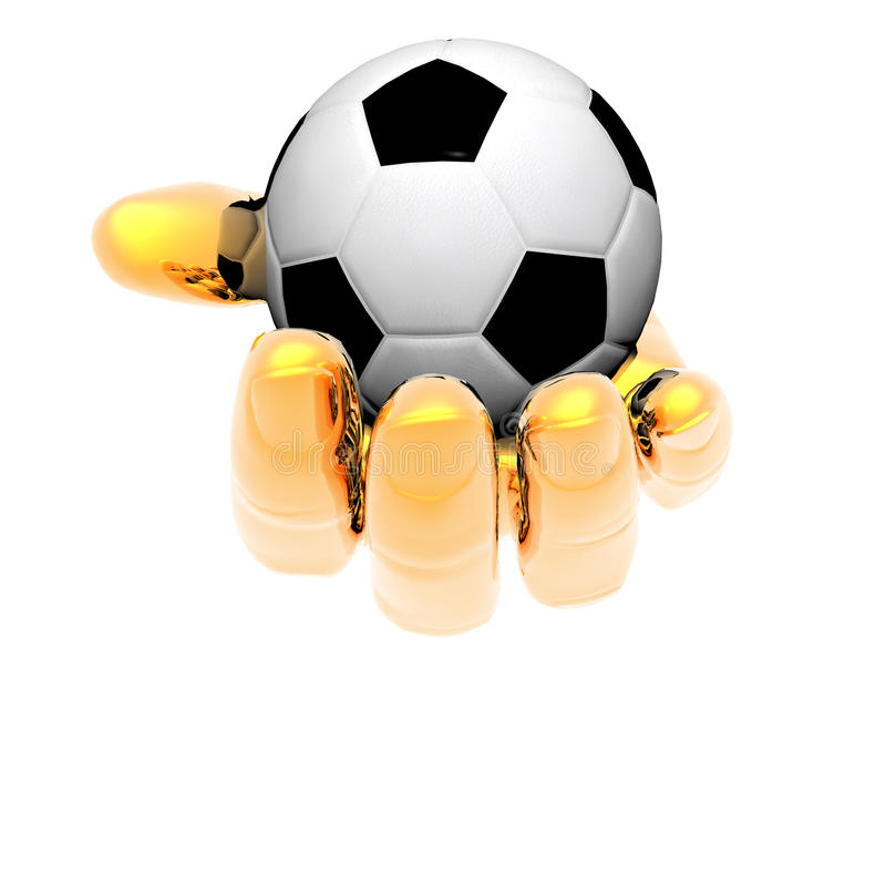 3d Soccer ball in hands isolated on royalty free illustration