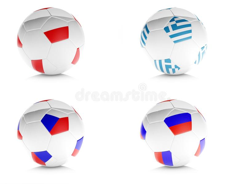 3d soccer balls with flags isolated white royalty free illustration