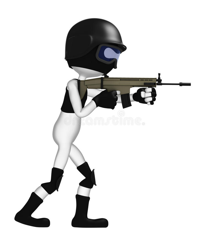 3D Soldier With A Rifle Royalty Free Stock Photos