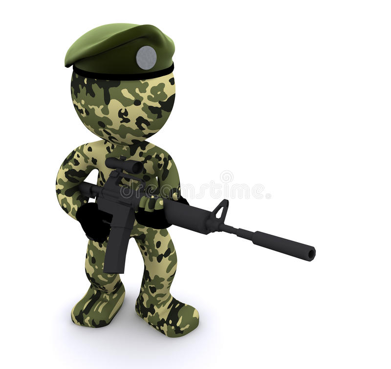 Download 3d Soldier Textured With Camouflage Stock Illustration - Image: 17021415