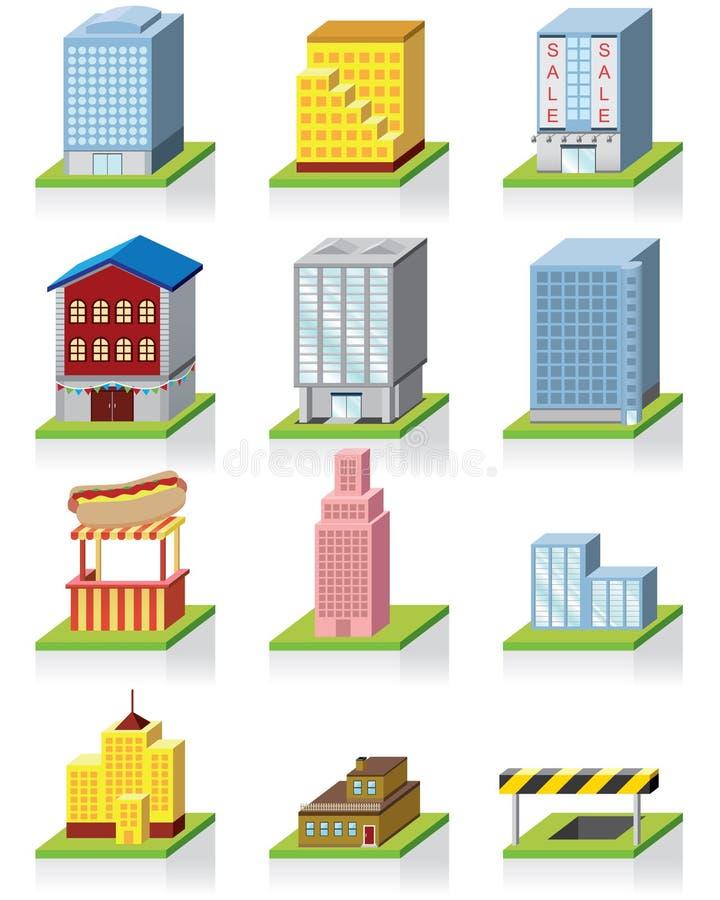 3d som bygger den kommersiella symbolsillustrationen stock illustrationer