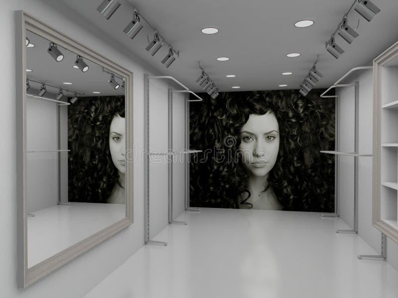 3d som inre moderna framför, shoppar royaltyfri illustrationer