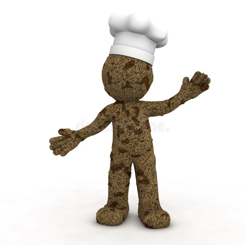 3d som texturerat lyckligt för bagarechokladkaka royaltyfri illustrationer