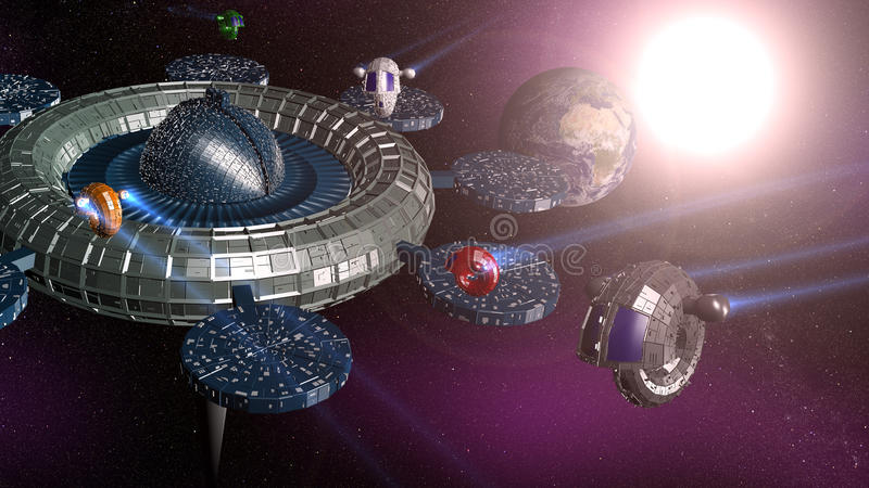 3d space station royalty free stock photography