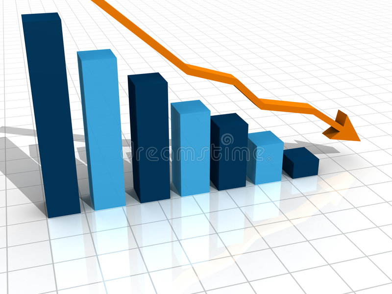 3d spadku biznesowy wykres royalty ilustracja
