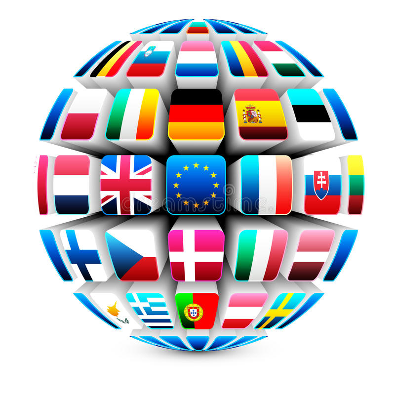 3d sphere with 27 european union flags royalty free illustration