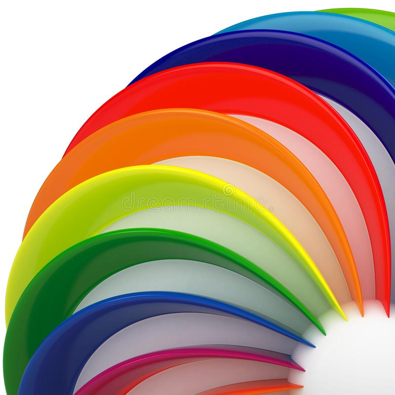 3d sphere with color stripes stock illustration