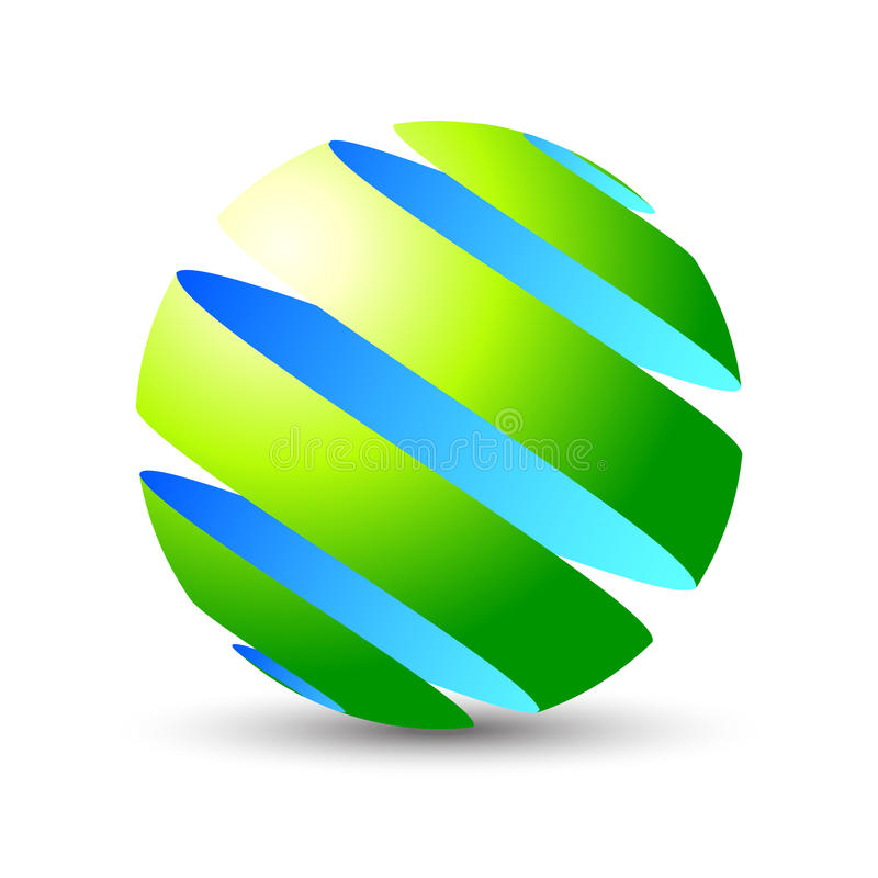 3D sphere eco icon and logo design. Modern spiral 3D vector sphere icon in blue (sky or water) and green (grass) natural colors with shadow on bottom (you can to